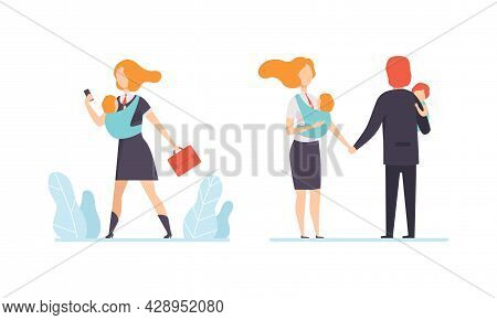 Man And Woman Parent Working And Nursing Children Combining Job And Family Duty Vector Set