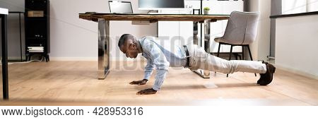 Workout Office Exercise. Healthy African American Doing Pushups