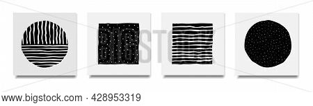 Abstract Hand Drawn Square And Circular Shapes With Uneven Dots And Lines, Background Templates Vect