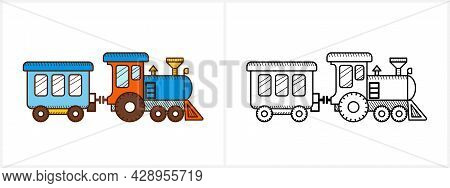 Train Coloring Page For Kids. Locomotive Side View