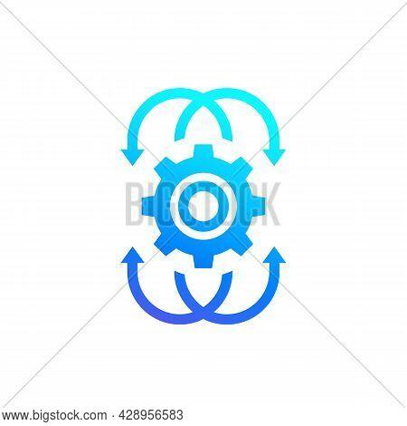 Integration Icon, A Gear With Arrows Vector