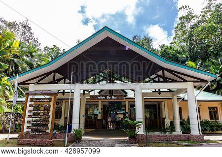 Praslin, Seychelles, 01.05.2021. Vallee De Mai Nature Reserve Main Entrance Gate With Ticket Office.