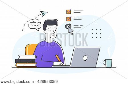Business Tasks Concept. Man Sitting At Laptop And Notes Completed Tasks In Electronic List. Personal