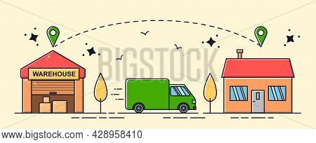 Fast Delivery Concept. Cargo Van Carries Goods From Store To Buyer House. Make Purchases From Home.