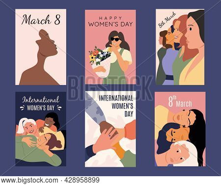 Collection Of Greeting Cards Or Postcard Templates With Race Women, Flowers, Feminism Girlfriends An