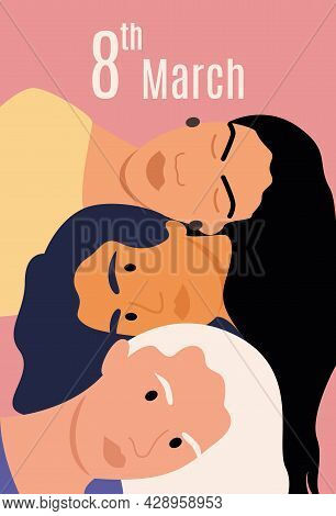 Three Friends Or Sisters With Long Hair Laid Their Heads On Top Of Each Other. Congratulations On Ma