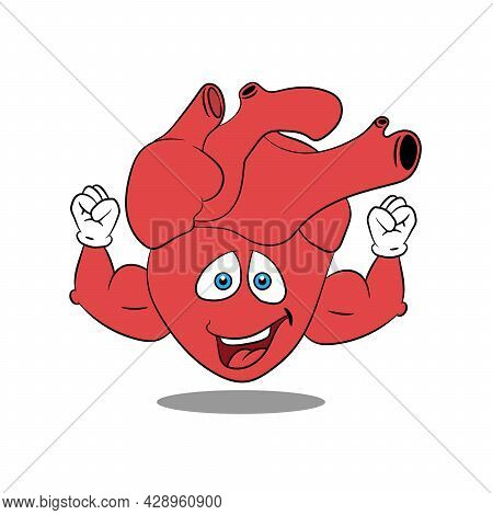 Strong Heart With Thick Biceps, Cartoon Character, Healthy Heart, Vector Illustration