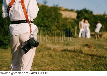 Photographer With A Camera On His Belt Takes A Couple Of Newlyweds, Back View