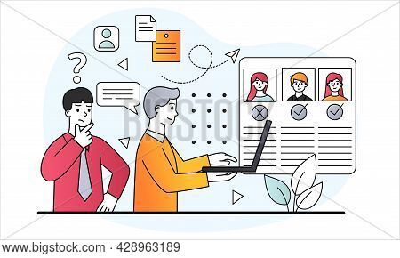 Employee Selection Concept. Office Workers From Hr Department Look At Resume And Choose Suitable Can