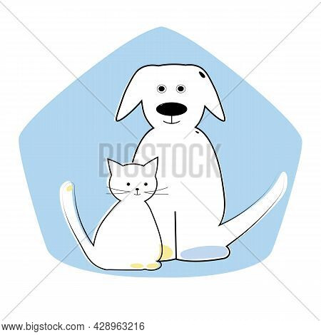 Cute Animals, A Dog And A Kitten Drawn In One Line With An Abstract Spot In The Shape Of A House On