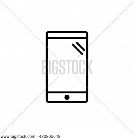 Smartphone Silhouette With Glare, Cellphone Or Phone Icon In Black. Trendy Flat Isolated Symbol, Sig