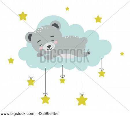 Bear Sleeping On Cloud. Baby Animal Concept Illustration For Nursery, Character For Children.