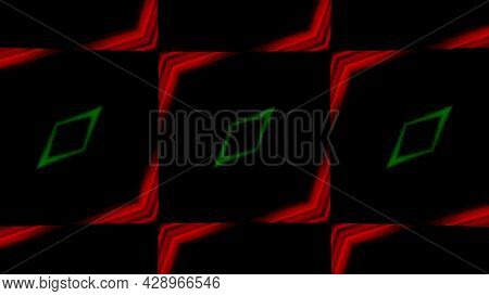 Blinking Shapes Of Rhombuses On A Dark Background, Seamless Loop. Motion. Colorful Hypnotic Silhouet