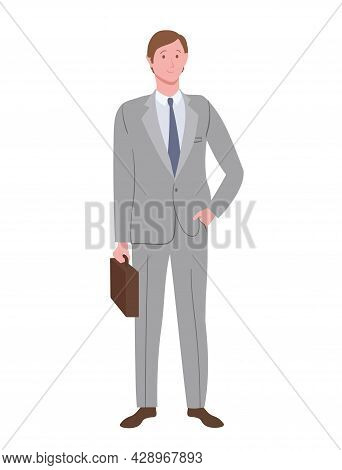 A Businessman With A Slavic Appearance In A Strict Suit With A Tie And A Briefcase, Isolated On A Wh