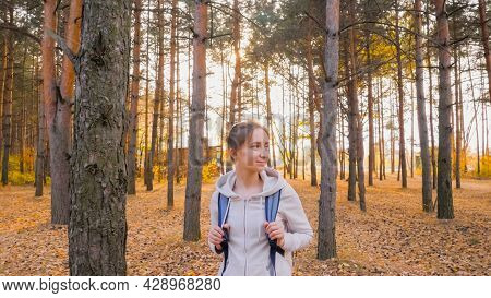 Front View Of Young Positive Woman In Hoodie With Backpack Walking In Autumn Park, Coniferous Forest