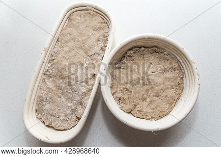Ready-made Bread Dough In The Bread Basket Before Baking - Bake Home Bread Yourself