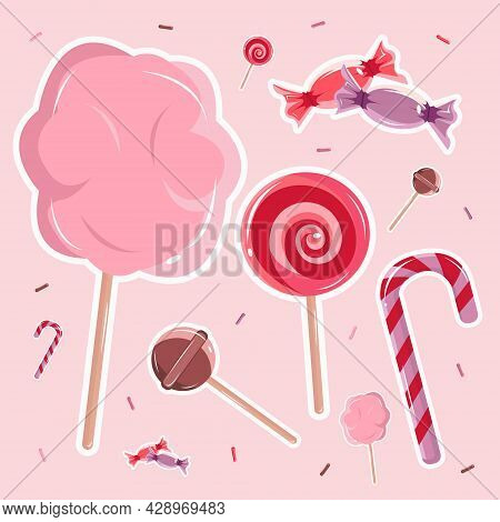 Vector Illustration Of Cute Candy On The Pink Background. Sweet Candies. Stripes Candy. Pink Cotton
