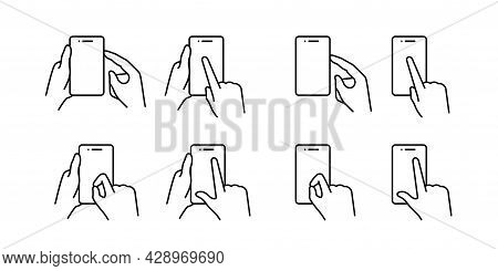 Set Of Touch Screen Gesture Icons. Hand Holding A Phone. Pressing The Smartphone Screen And The Side