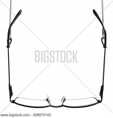 Black Reading Glasses, Grey Eyeglasses Straps Retainers, Isolated Hanging Readers Croakies, Blank Em