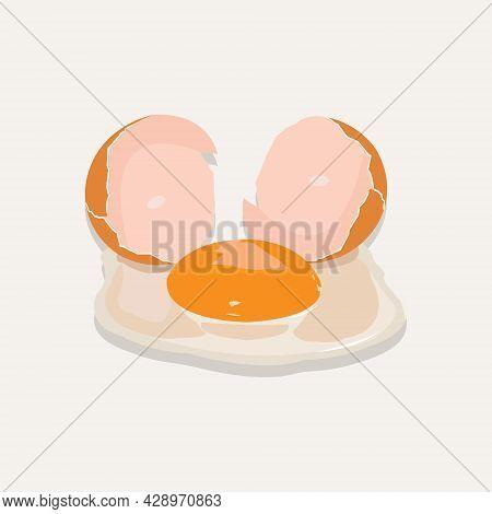 Vector Illustration Of Cracked Raw Egg. Yellow Egg Yolk. Cracked Egg Shell. Albumen White Egg. Prote