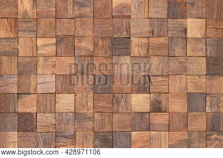 Wood Texture Wall Panel Made Of Small Planks. Brown Wood Planks As Background