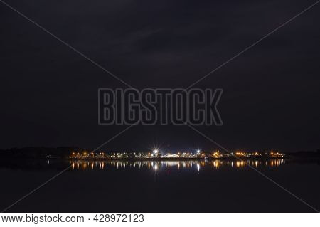 Night Shot Of The Uruguay River´s Coast And The Little Town Of Santa Ana, Entre Ríos, Argentina On A