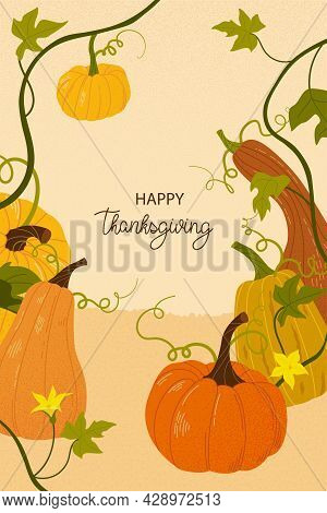 Happy Thanksgiving. Cute Fall Background With Leaves And Pumpkins. Poster And Card For Seasonal Gree