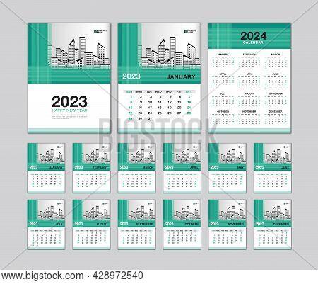 Wall Calendar 2023 Template - Desk Calendar 2023 Year, Calendar 2024 Design, Green Cover, Week Start