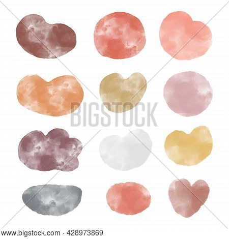 Collection Of Abstract Watercolor Organic Shape Blobs In Warm Autumn Colors, Irregular Paint Stains