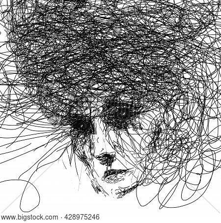 Drawing Of A Possessed, Frightening, Insane, Crazy Female. This Is A 3-d Illustration Isolated On A
