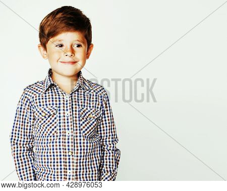 Young Pretty Little Cute Boy Kid Wondering, Posing Emotional Face Isolated On White Background, Gest