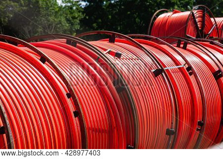 Drum With Red Cable Roll Electric Energy Power Large Watt