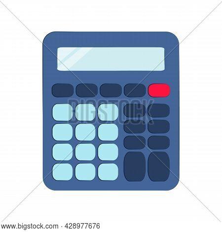Electronic Calculator Isolated On White Background. Vector Flat Illustration. Digital Keypad Math De