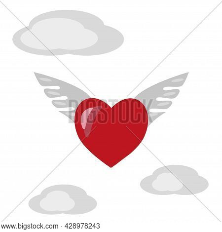Romantic Heart With Wings In Heaven. Vector Illustration.