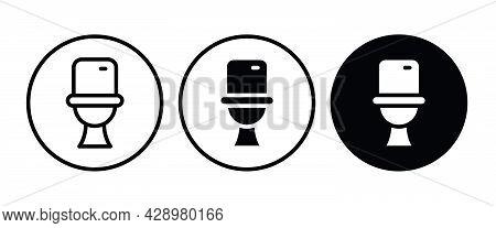 Toilet Bowl Icon Button, Vector, Sign, Symbol, Logo, Illustration, Editable Stroke, Flat Design Styl