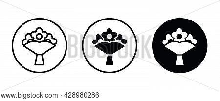 Bouquet, Flower, Love Icon. Wedding Icon Button, Vector, Sign, Symbol, Logo, Illustration, Editable
