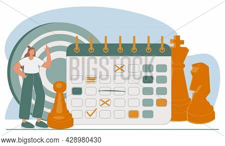 Illustration Concept Of Planning. People Make A Plan Schedule Management, Business Planning, To Do L