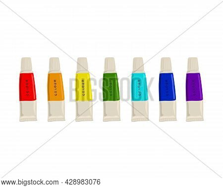 Set Of Colorful Paint Tubes. Seven Tubes Of Different Colors. Rainbow Colors.vector Illustration.