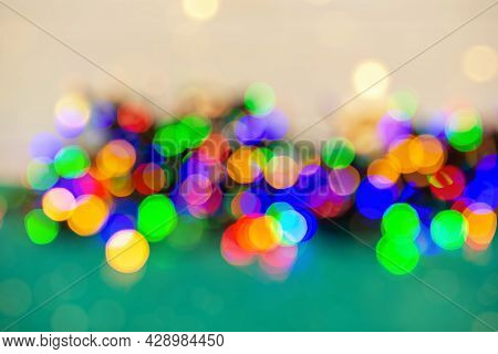 Festive Bokeh Background. Blurred Bokeh Light Background, Christmas And New Year Holidays Background