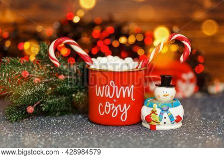 Chocolate With Whipped Cream In Red Mug. Christmas Time. Hot Winter Drink. Cozy Home Atmosphere. Fes