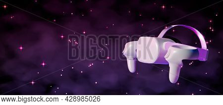 Virtual Reality Glasses With Controllers Copy Space On Cosmo Galaxy Space