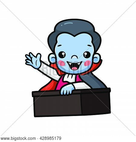 Vector Illustration Of Cute Little Boy Dracula Cartoon Inside Coffin Waving Hand
