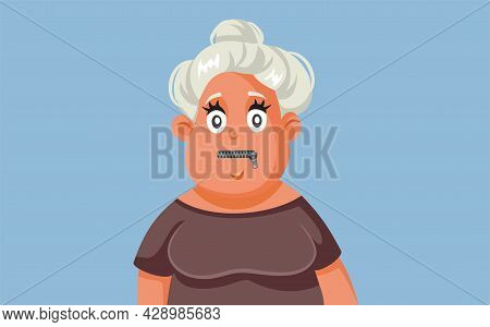 Middle Aged Woman With Zipped Mouth Keeping A Secret