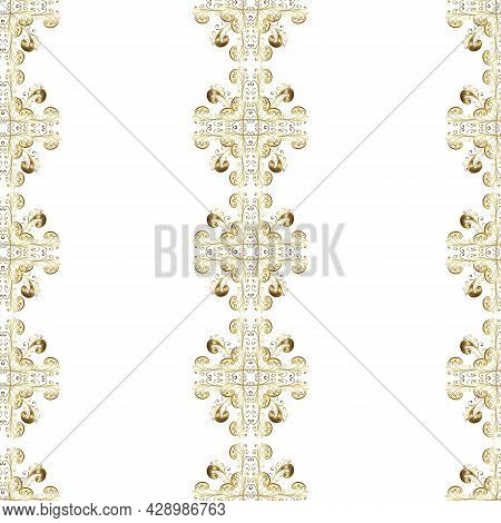 Decorative Design Tattoo Neutral, Yellow And Gray On Colors. Vintage Baroque Victorian Monogram Flor