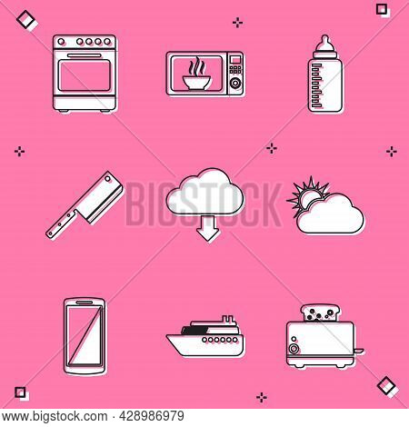Set Oven, Microwave Oven, Baby Bottle, Meat Chopper, Cloud Download And Sun And Cloud Weather Icon.