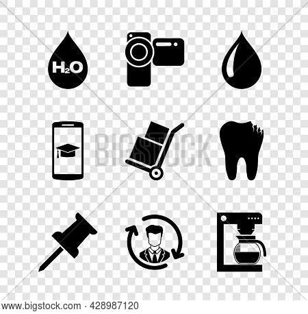 Set Water Drop With H2o, Cinema Camera, , Push Pin, Human Resources And Coffee Machine Pot Icon. Vec