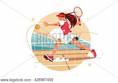 Excited Young Female Tennis Player Hitting Ball Using Tennis Racket. Isolated Icon Concept Of Woman