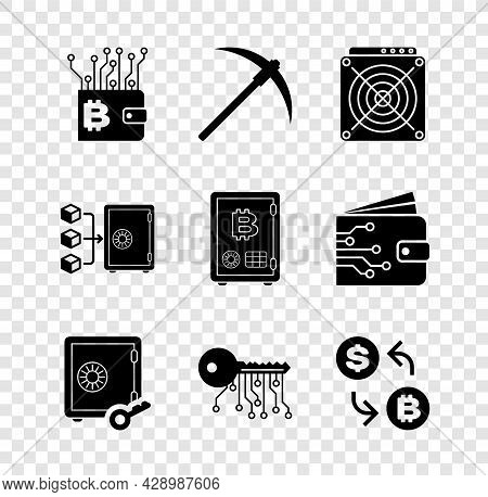 Set Cryptocurrency Wallet, Pickaxe, Asic Miner, Proof Of Stake, Key And Exchange Icon. Vector