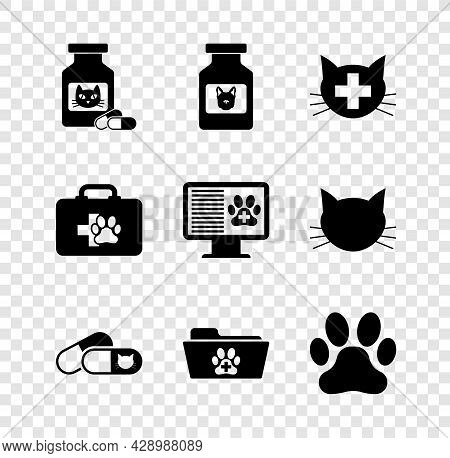 Set Cat Medicine Bottle And Pills, Dog, Veterinary Clinic, , Medical Veterinary Record Folder And Pa