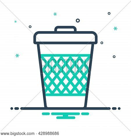 Mix Icon For Trash-can Trash Can Garbage Waste Basket Container Junk Debris Detritus Rubbish